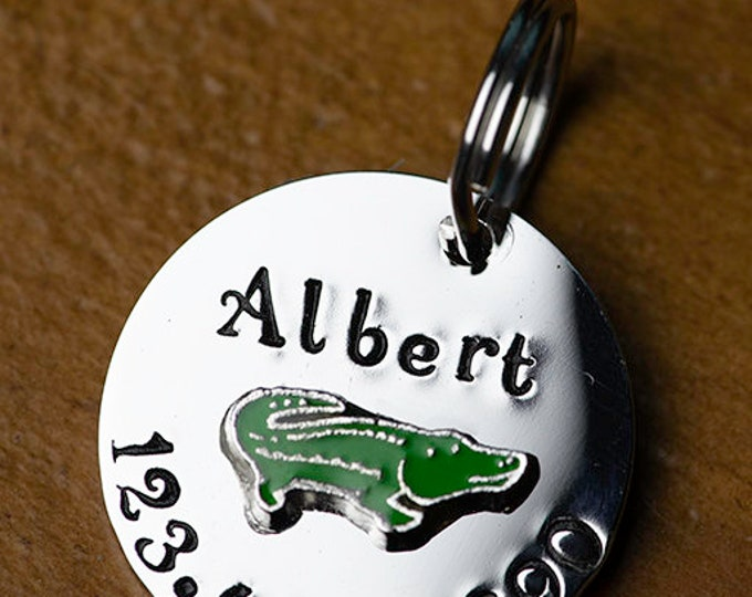 "Gator ID Tag -  Cat/dog Tag - 7/8"" Stainless Steel Pet ID Tag - Alligator Identification tag - Personalized Cat ID Tag - Custom Pet Tag"