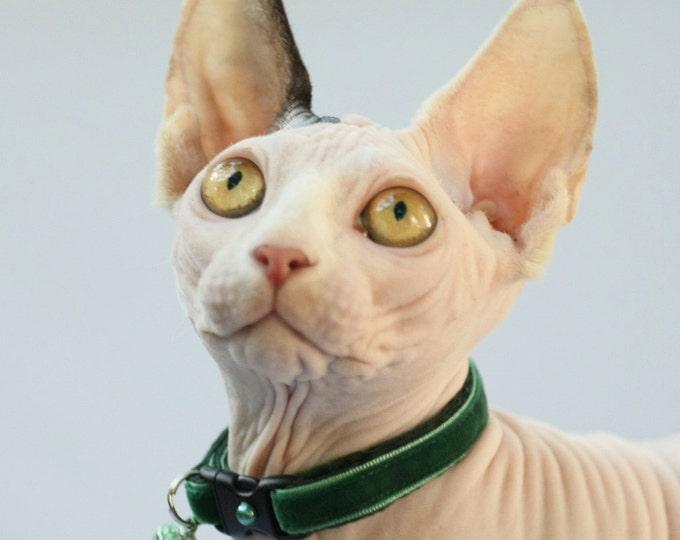 Soft Velvet Cat Collar - Emerald Green - Safety Breakaway - Kitten or Large Size