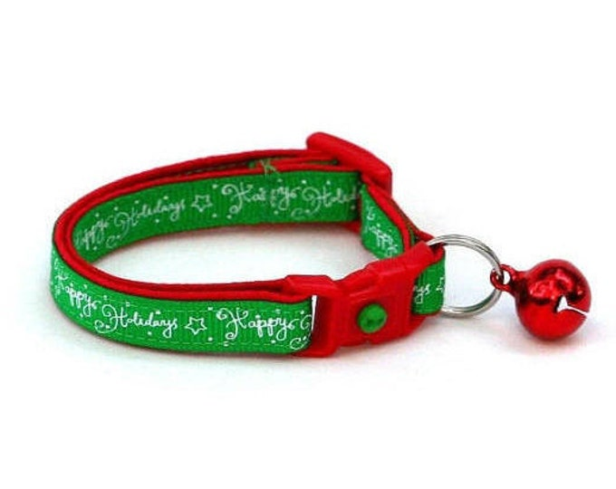 Holiday Cat Collar - Happy Holidays on Green - Kitten or Large Size
