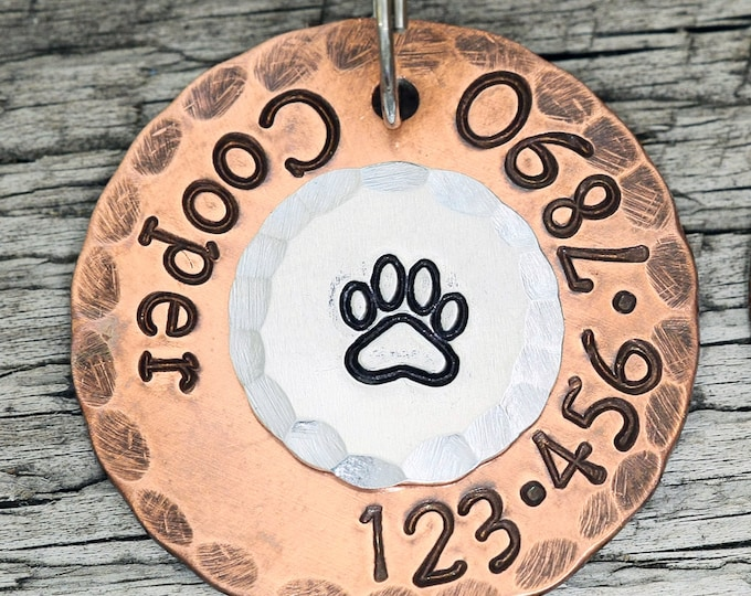 "Custom Dog Tag - Classic Paw - 1"" Copper Dog ID Tag - Hand Stamped Cat ID Tag"