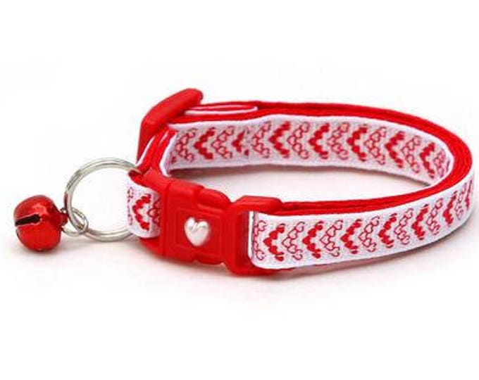 Valentines Day Cat Collar - Cupid's Arrow Mini Heart Chevrons - Kitten or Large Size B115D79
