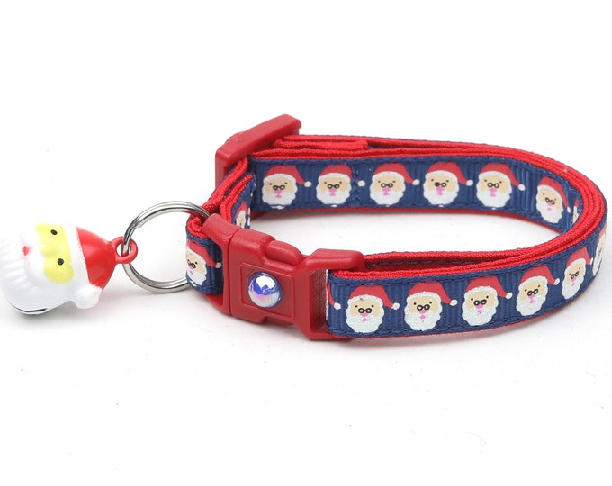 Christmas Cat Collar - Jolly Santa Faces on Navy Blue - Kitten or Large Size