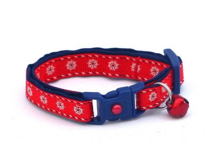 Nautical Cat Collar - Ships Wheels on Red - Kitten or Large Size