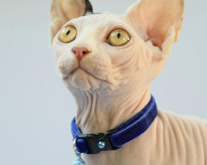 Soft Velvet Cat Collar - Royal Blue - Kitten or Large Size