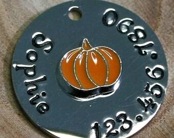 """Pumpkin ID Tag -  Cat/dog Tag - 7/8"""" Stainless Steel Pet ID Tag - Fall Identification tag - Personalized Cat ID Tag - Custom Pet Tag"""