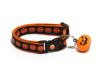 Halloween Cat Collar - Alternating Jack-O-Lanterns on Black -Small Cat / Kitten Size or Large(standard) Size Collar
