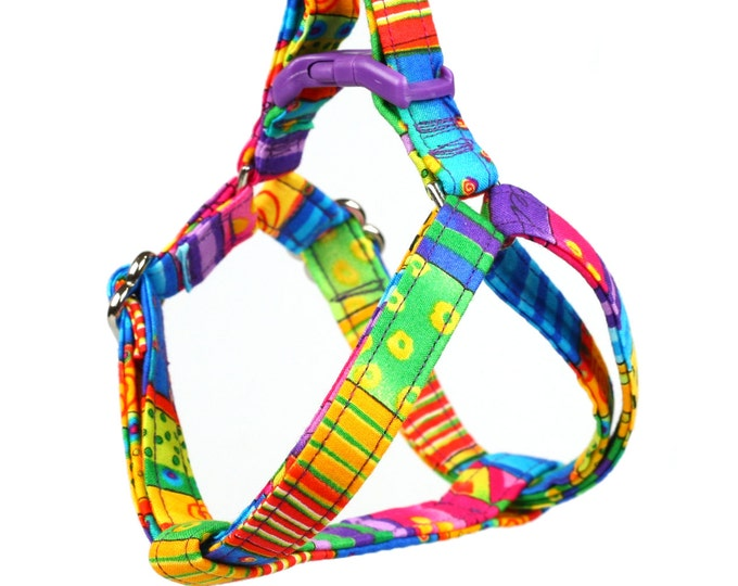 Step In Dog Harness - Happy Go Lucky Stripe - Mini Small Medium Large XL Dog Harness
