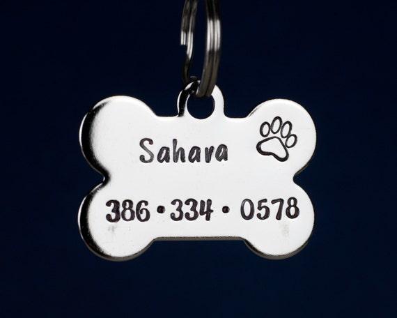 """Étiquette de chien OS - 1.25"""" en acier inoxydable OS en forme Tag - fabriquées à la main animaux Tag ID"""