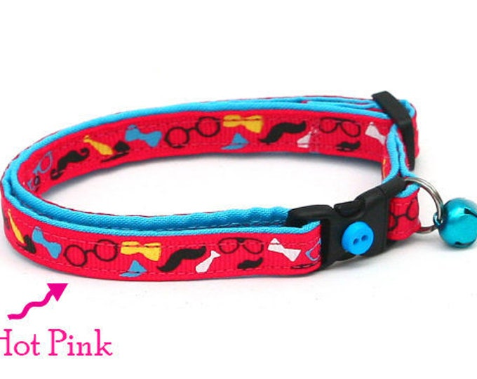 Hipster Cat Collar - Mustaches and Bowties on Pink - Kitten or Large Size