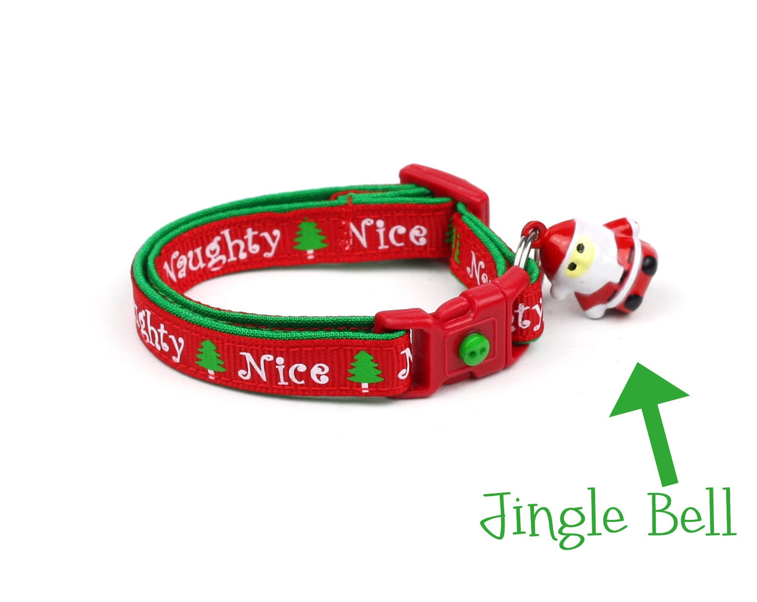 christmas cat collar naughty or nice small cat kitten size or largestandard size collar