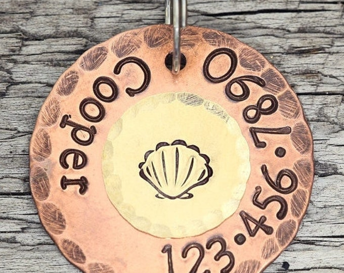 """Stamped ID Tag - Nautical Sea Shell - 1"""" Copper Dog Id Tag - Hand Stamped Cat Id Tag"""