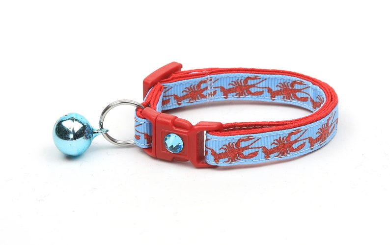 Nautical Cat Collar  Lobster on Blue  Kitten or Large Size  Jingle Bell