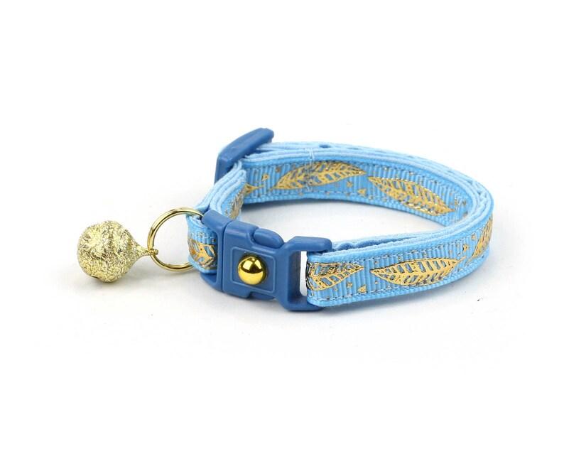 e8de10a35655 Feather Cat Collar Metallic Gold Feathers on Light Blue