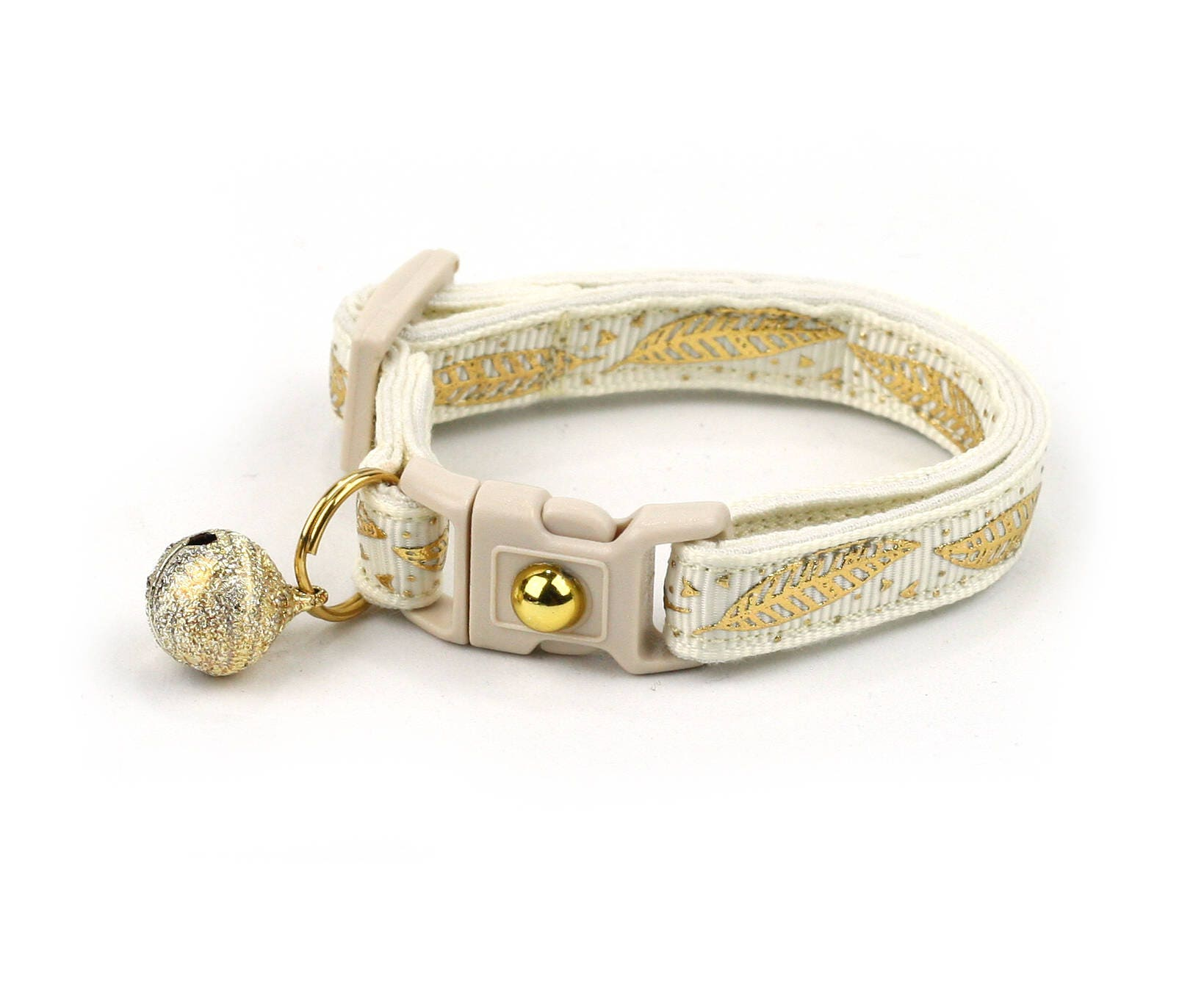 a654609a73bf Feather Cat Collar - Metallic Gold Feathers on Ivory - Small Cat   Kitten  Size or Large Size - Woodland - Boho