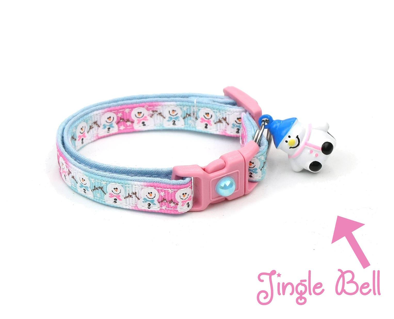 Snow Cat Collar standard Small Cat  Kitten or Large Jolly Snowmen on Pink Size Collar B103