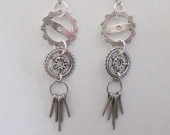 Steampunk Earrings, Silvertone Gears & Cotter Pins Dangle Earrings, Surgical Steel Ear Wires