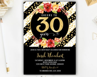 30th Birthday Invitation, Birthday Invitation, Adult Birthday Invitation, Girls Night Out Invitation, Party Invitation, Hello Thirty Invite