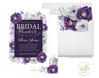 bridal shower invitation purple bridal shower invite bridal shower invite floral shower invite wedding shower invite 5x7 printable