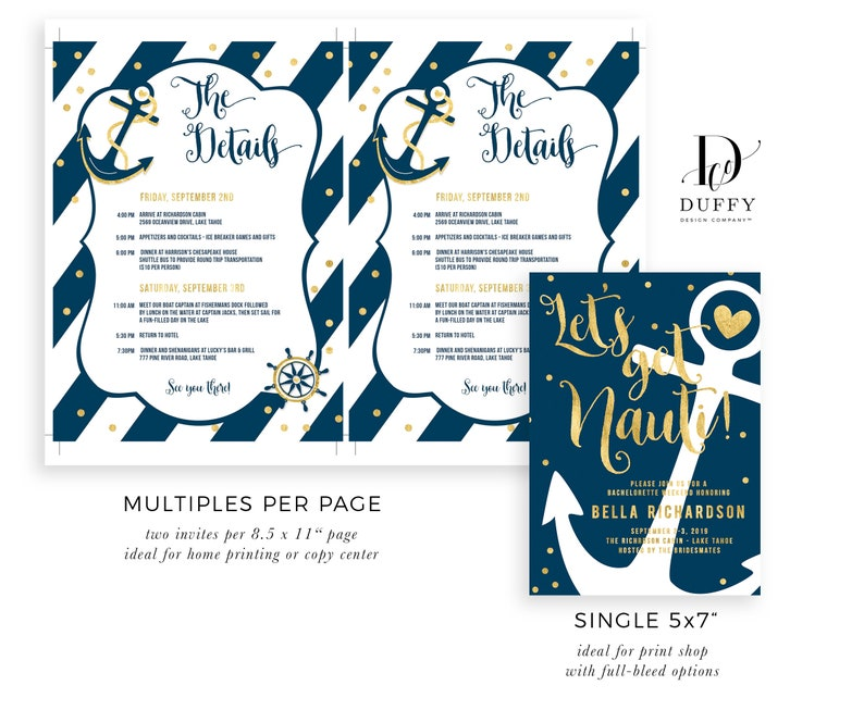 Nautical Bachelorette Weekend Invitation With Itinerary Printable Hens Party Invite EDITABLE Instant Download Invitations Template