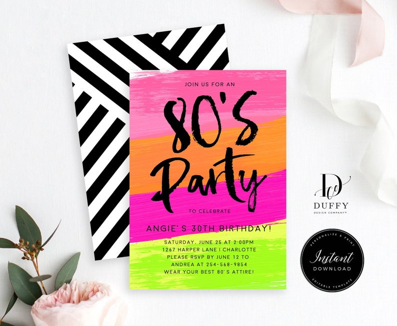 80s Birthday Invitation Template Party 90s INSTANT DOWNLOAD DBIR001