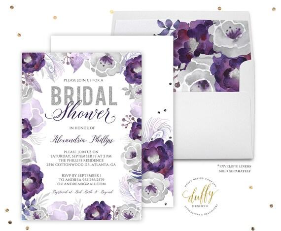 Bridal shower invitations purple bridal shower invitation etsy image 0 filmwisefo