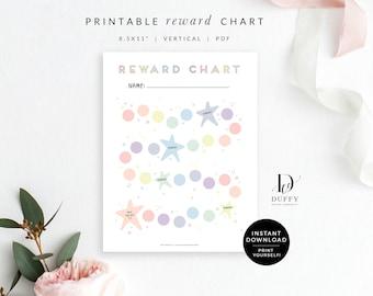 Printable Rainbow Reward Chart, Children's Sticker Chart, Toddler Reward Chart, Potty Training Chart INSTANT DOWNLOAD - RC001