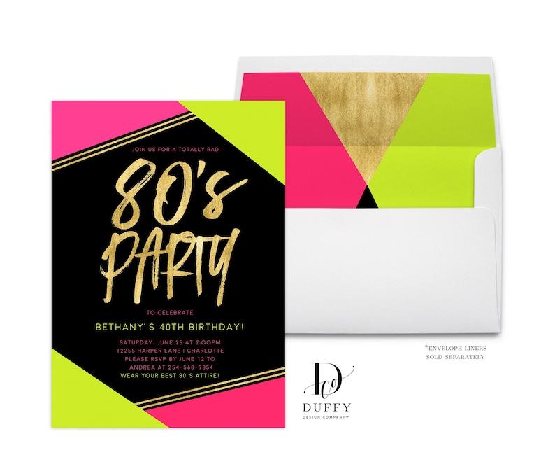 80s Birthday Invitation Adult Party Neon Invite Geometric Bash