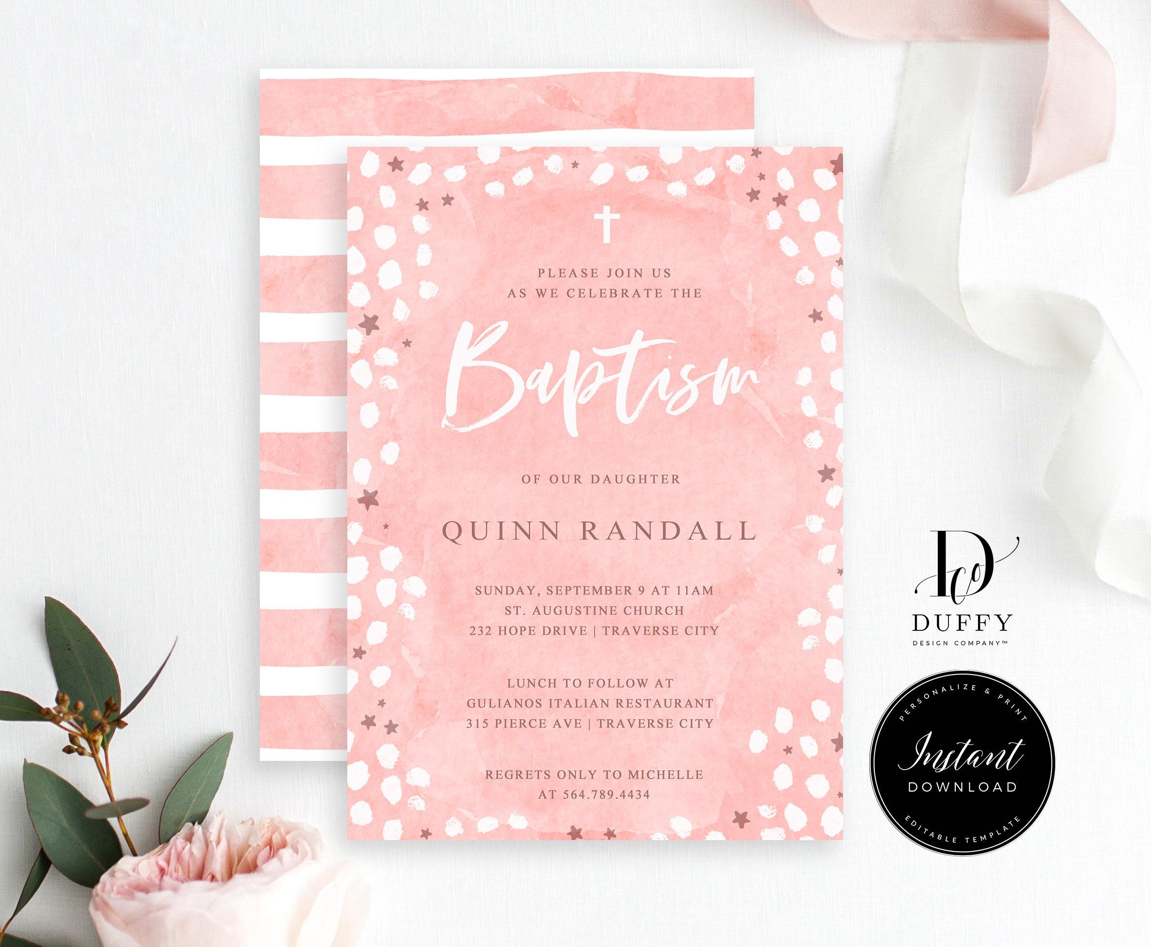 Girl Baptism Invitation Template Editable Baptism Invite | Etsy