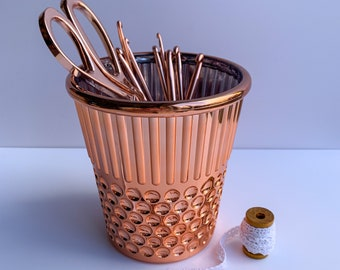 Thimble Desk Organiser, Pencil Pot, Scissor Storage, Thimble Plant Pot, Gifts for Sewers, Novelty Thimble, Rose Gold Thimble, Crafts Gifts