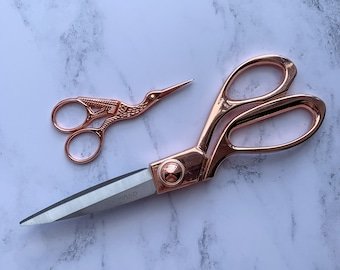 Rose Gold Dressmakers and Embroidery Scissors Set, Stork Scissors, Milward Fabric Scissors, Tailors Scissors, Gifts for Sewers Quilting