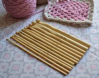 Bamboo Crochet Hooks sizes 3mm - 10mm pack of 12 hooks