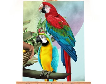 ACEO - Rainbow Macaws Limited Edition