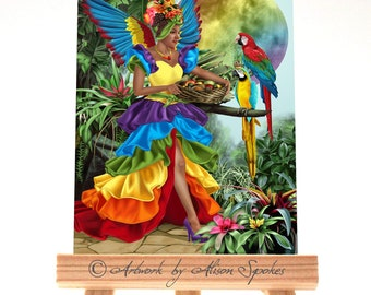 ACEO - Harvest Moon Rainbow Fairy Tropical Wings Tutti Frutti Cha-Cha Parrot Macaw