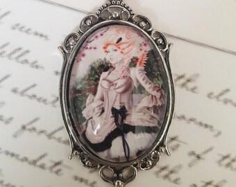 Cameo Pendant - Pink Moon - Flamingo Fairy Necklace