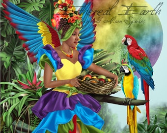 Rainbow Fairy Tutti-Frutti Wings Tropical Cuba Cha-Cha Brazil Carnival Jungle - Fine Art Fantasy Print