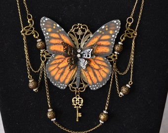 Monarch Butterfly Wings Necklace - Fantasy Fairy Necklace Steampunk