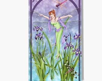 "Dragonfly Fairy Dancing Irises Fantasy Art Greeting Card (5""x7"")"