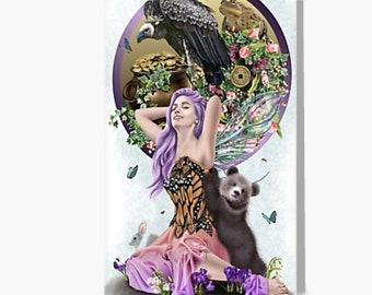 "Awakening Spring Nature Fairy Baby Bear Butterflies Fantasy Art Greeting Card (5""x7"")"