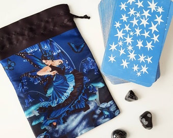 Shades of Blue Fairy Pouch, Drawstring Bag, Tarot Bag, Dice Bag, Rune Stone Bag