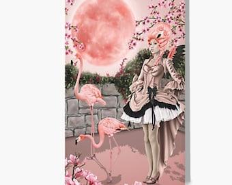 "Pink Moon Flamingo Fairy Fantasy Art Greeting Card (5""x7"")"