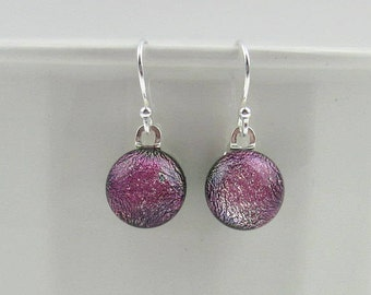 Pink iridescent glass earrings, fused glass drop earrings with sterling silver earwires