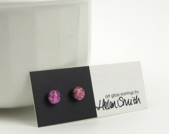 Petite fused glass earrings, magenta pink dichroic glass and sterling silver studs