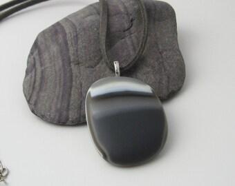 Glass Pebble Pendant, grey satin finish, statement fused glass necklace
