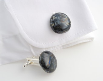 Fused glass cufflinks, dark grey iridescent oil slick cuff links