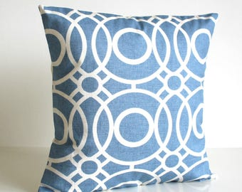 Circle Pillow Cover, Circle Cushion Cover, Circle Pillow Sham, Sofa Pillows, Home Decor Pillow, Blue Pillow Cover - Trellis Circles Blue