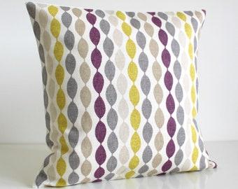 Purple and Citrus Pillow Cover, 16x16, 18x18, 20x20, Decorative Pillow Cover, Cushion Cover, Pillow Sham, Pillowcase - Gemstone Aubergine