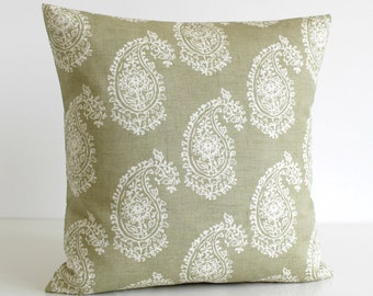 Paisley Pillow Cover, 16x16, 18x18, 20x20, Accent Pillow, Cushion Cover, Shabby Chic Pillow Sham, Pillowcase, Scatter Cushion - Paisley Sage