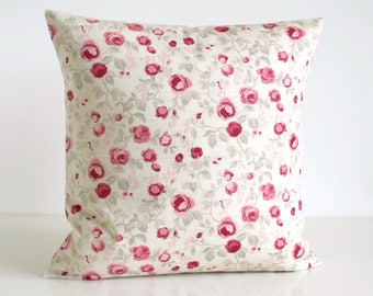 Decorative Pillow Cover, Shabby Chic Cushion Cover, Flower Pillow Sham, 16x16, 18x18, 20x20, Accent Pillow - Mini Flowers Raspberry