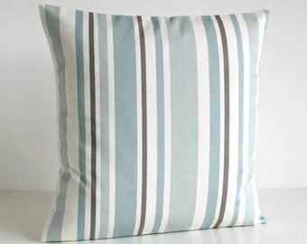 Stripe Pillow Cover, Stripe Cushion Cover, Stripe Pillow Sham, Throw Pillow, Pillow Cover, Pillowcase - Barcode Pale Blue