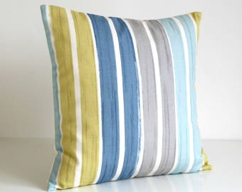 Stripe Pillow Cover, Stripe Cushion Cover, Stripe Pillow Sham, Accent Pillows, Pillowcase, Throw Pillow - Brush Stripes Blue